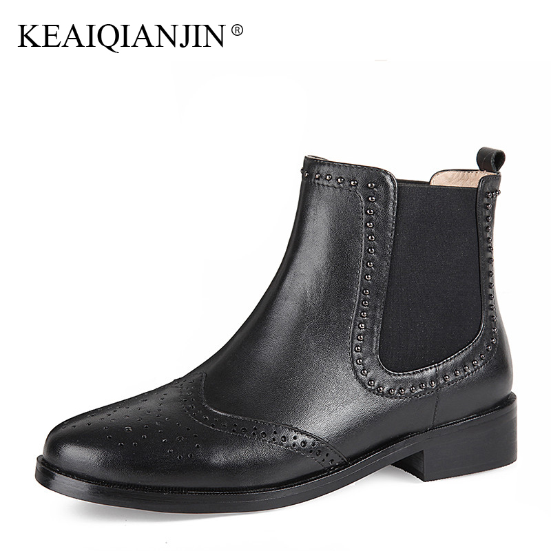 KEAIQIANJIN Woman Rivet Martin Boots Black Autumn Winter Ankle Boots Patent Leather Genuine Leather Punk Motorcycle Boots 2017 women martin boots 2017 autumn winter punk style shoes female genuine leather rivet retro black buckle motorcycle ankle booties