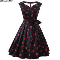 Donne pin up vintage dress scollo a v abiti carini grande arco bordo di estate femminile a party line labbro rosso annata abiti