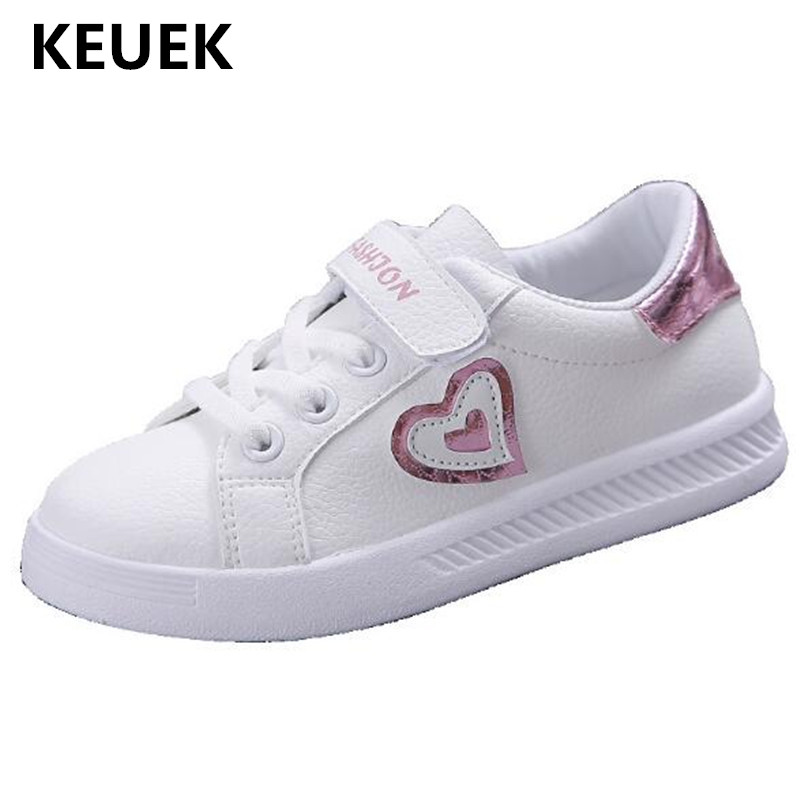 New Children Casual Shoes Girls Sneakers Student Princess Shoes Baby Toddler Flats Breathable PU Leather Kids Sports Shoes 02B