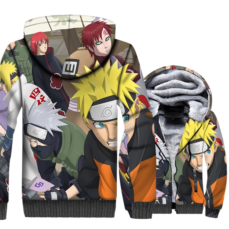 Japan Anime Uzumaki Naruto & Uchiha Sasuke 3D Hoodies 2019 Winter Warm Jackets Men Casual Harajuku Sweatshirt Brand Men's Hooded