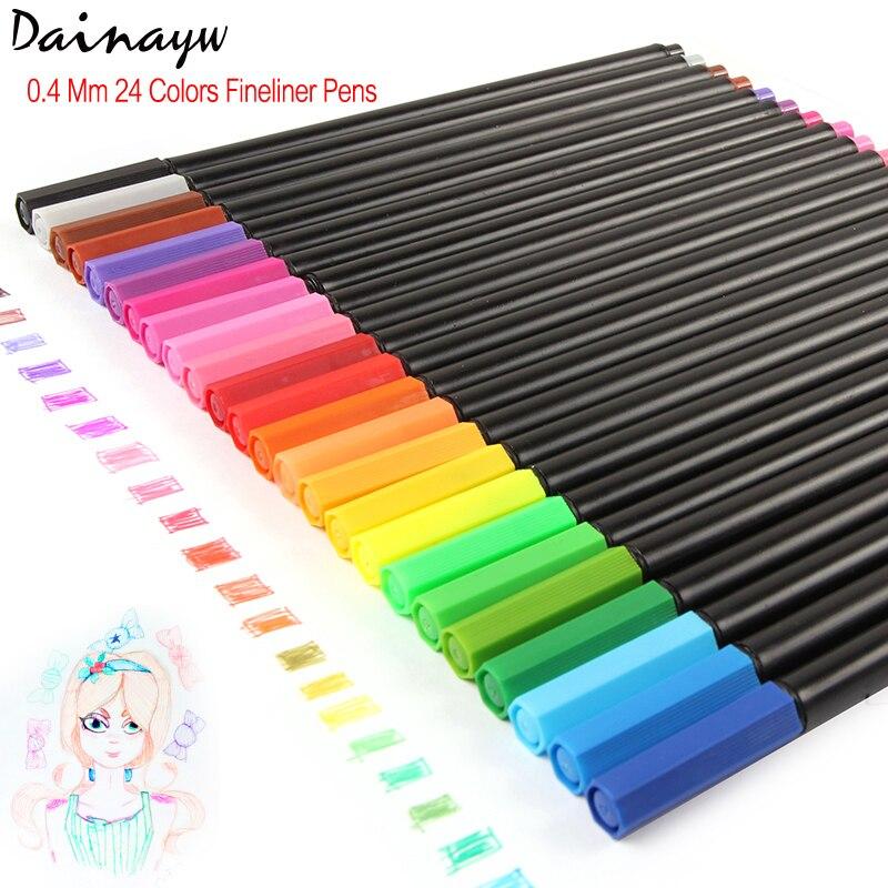 Dainayw 24 colores 0,4mm plumas de Color Fineliner marcadores de Arte de tinta surtidos a base de agua para dibujar niños Graffiti gancho pluma de fibra