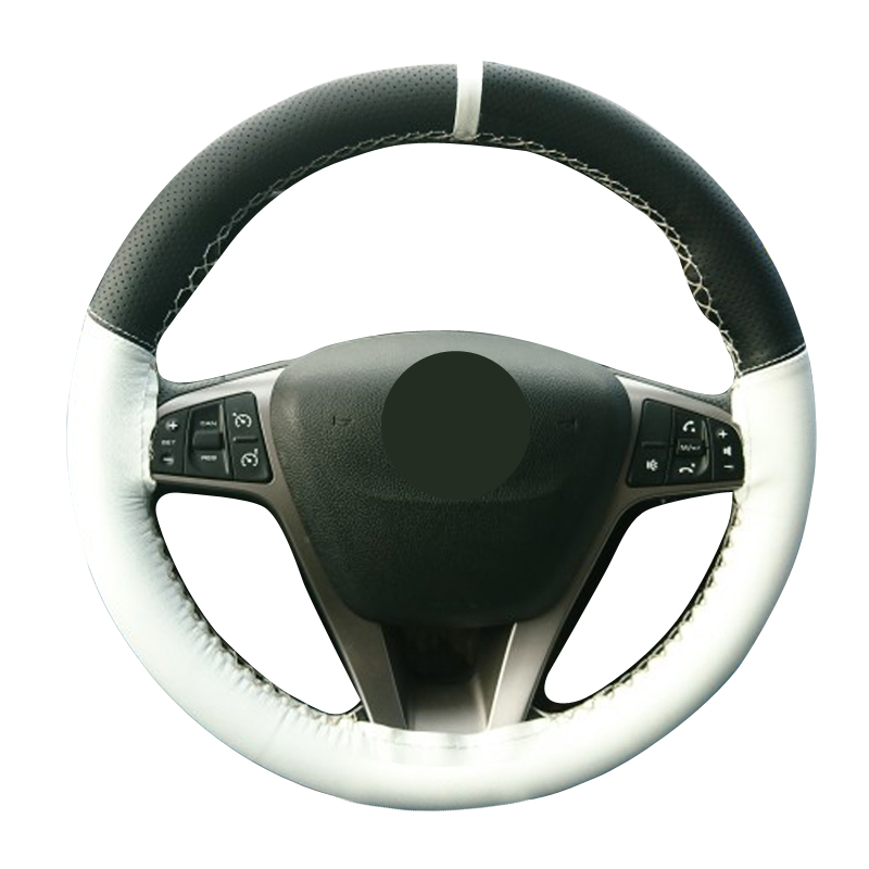 Car Universal DIY Steering Wheel Covers 38CM Comfort Durability Safety Black Steering-wheels Leather Micro Fiber Braid On Cover