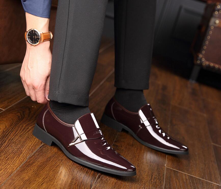 Bureau D'affaires Hommes Mariage Bout En Bateau Chaussures Verni marron Robe Formelles Luxe De Pointu Oxford Noir Cuir Vivodsicco Pour Eqf08H