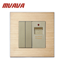 MVAVA Satin Aluminium Series Panel 2 Gang USB Plug Socket Wall Outlet Gold Color Smart USB Power Strip Socket For 2 Gang