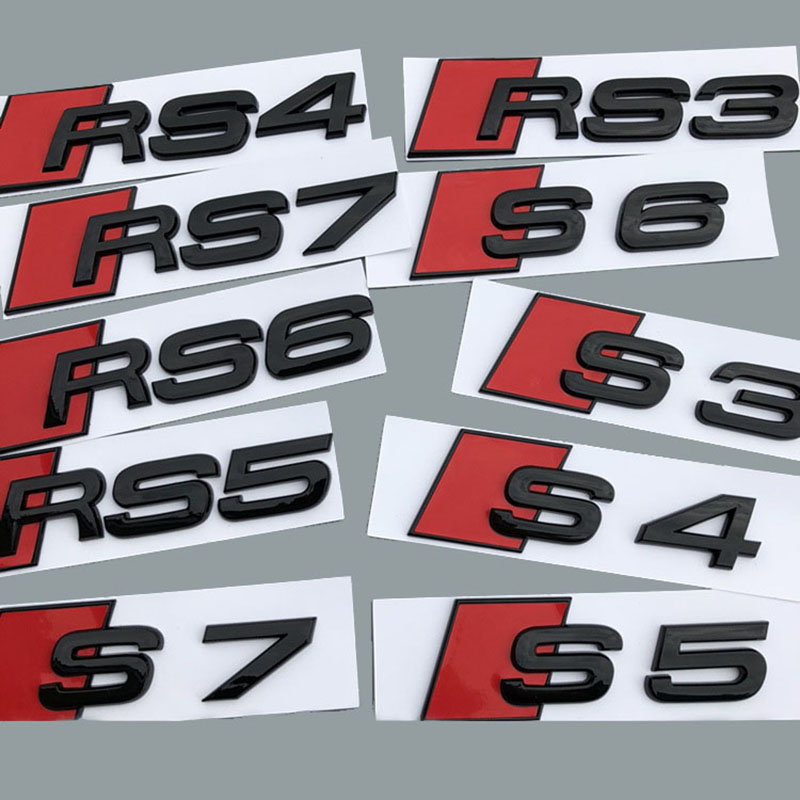 Glossy Black S3 S4 S5 S6 RS3 RS6 RS8 RS7 S7 Rear Trunk Badge Emblem Sticker Letter Logo Decal Replacement For Audi