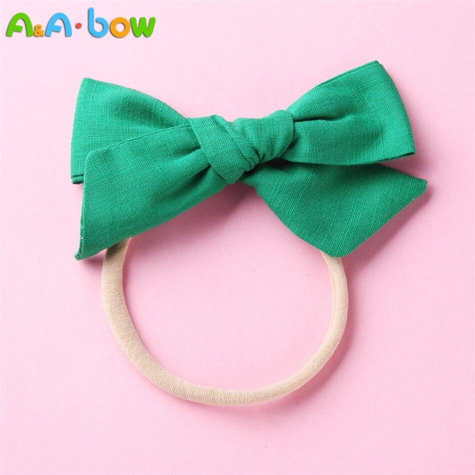 "1pcs 4*2"" Handmade Fabric Big Bow Headbands for Baby girls, Solid Cute Elastic Nylon Bow Headband, School Girls Hair Accessories"