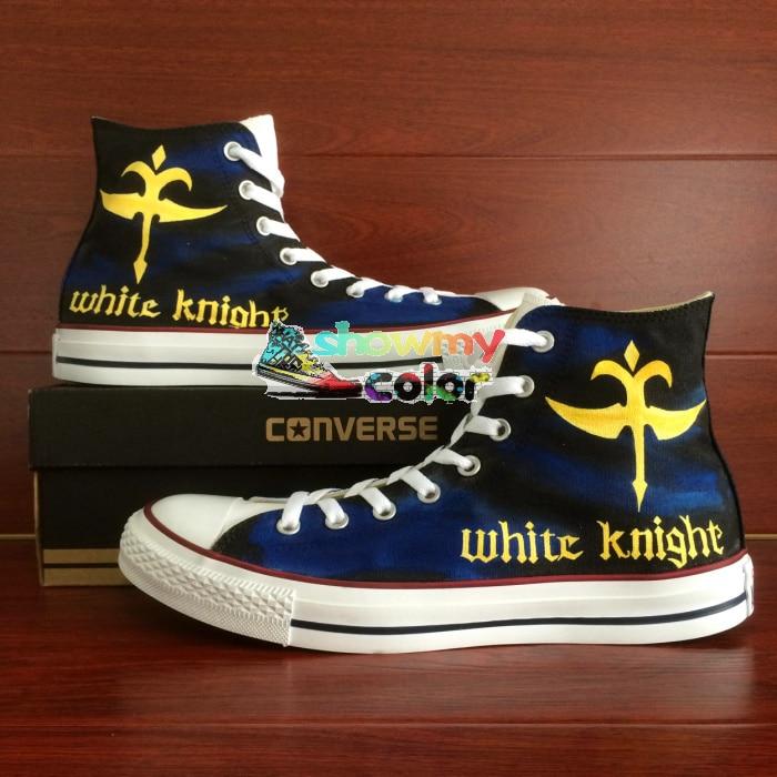 Prix pour Converse All Star Femmes Hommes Chaussures Anime Code Geass Chevalier Conception Peint À La Main Personnalisé De Haute Top Sneakers