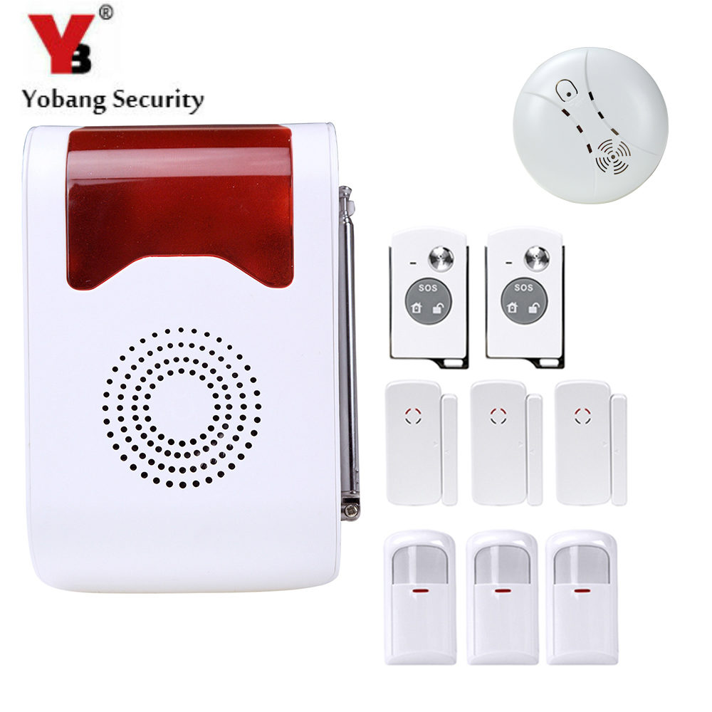 YobangSecurity 433Mhz Voice Prompt Wireless Anti-Theft Alarm System Security Home with Smoke Detector PIR Motion Door Sensor yobangsecurity touch keypad wifi gsm gprs home security voice burglar alarm ip camera smoke detector door pir motion sensor