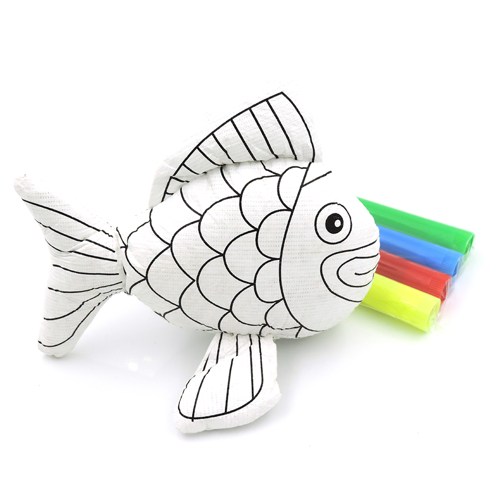 15 Cm 3d Diy Kustomisasi Stuffed Mainan Kura Kura Ikan Mewarnai