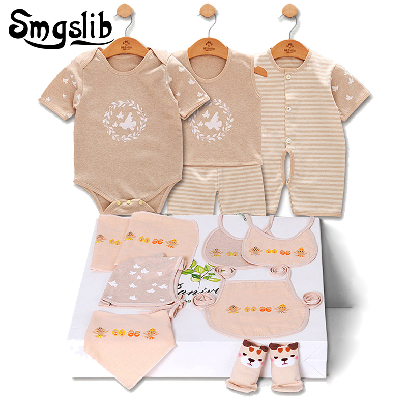 Summer baby clothes 11 Pieces Newborn Baby Boy Girls outfit Rompers Jumpsuits Short Sleeve Cotton Print infant clothing Set baby boys rompers infant jumpsuits mickey baby clothes summer short sleeve cotton kids overalls newborn baby girls clothing