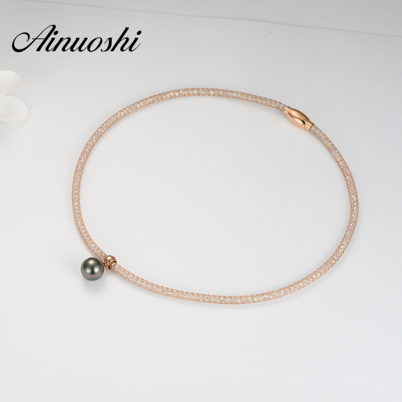AINUOSHI Net Crystal Rose Gold Color Choker Necklaces Black South Sea Tahiti Pearl Pendant Necklace Jewelry Gift for Woman nandudu fashion necklace rose wire mesh flower crystal pearl pendant necklaces gift for women cn165