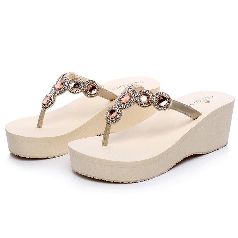 Online Shop Women Fashion Rhinestone Flip Flops High Heel wedge Sandals  Diamond Slippers Female Sandals Shoes  21eb499b3833