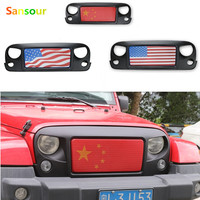 Sansour American flag ABS Front Bumper Grill For Jeep Wrangler JK 2007 2017 Front Mesh Grille Grill Ghost Style Auto Car Parts