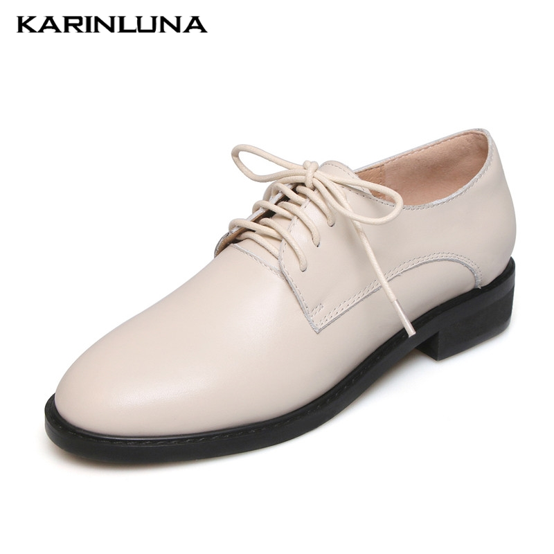 Karinluna Fashion 2019 Large Size 33-42 Genuine Leather Lace Up Pumps Woman Shoes Square Heels Lady Pumps WomanKarinluna Fashion 2019 Large Size 33-42 Genuine Leather Lace Up Pumps Woman Shoes Square Heels Lady Pumps Woman