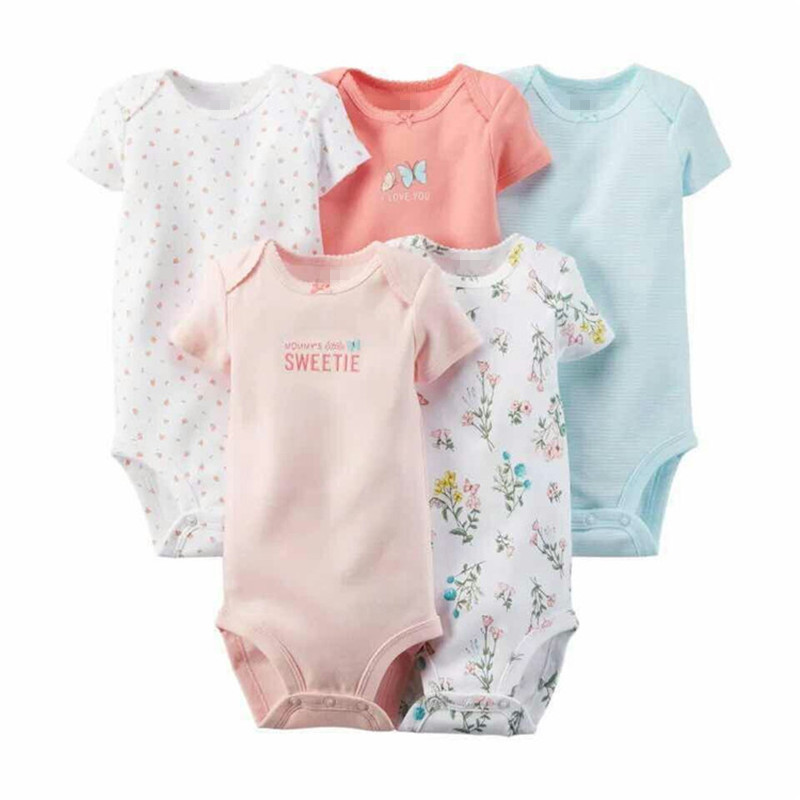 carter 5 Pieces Lot Baby Bodysuits Sling Sleeveless Short Sleeved Cotton Baby Jumpsuit Baby Clothes Print