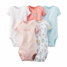 hot 5 Pieces Lot Baby Bodysuits Sling Sleeveless Short Sleeved Cotton Baby Jumpsuit Baby Clothes Print