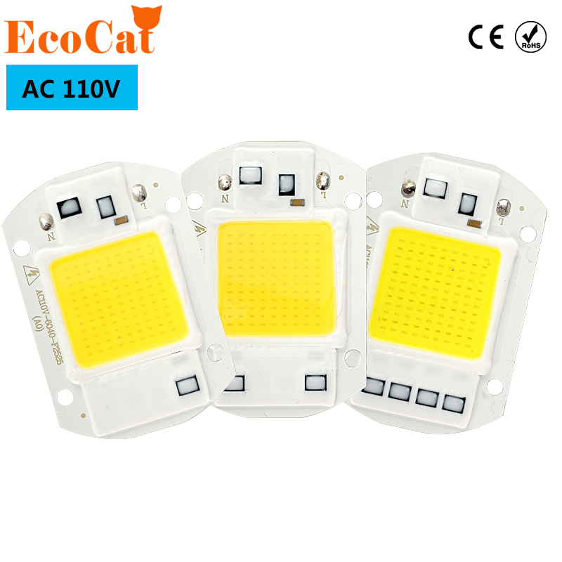 ECO Cat AC 110V LED COB Chip 20W 30W 50W Input Smart IC Driver Fit For DIY Cold Warm White LED Spotlight Floodlight led cob lamp chip 5w 20w 30w 50w led chips 220v input smart ic driver fit for diy led floodlight spotlight cold white warm white