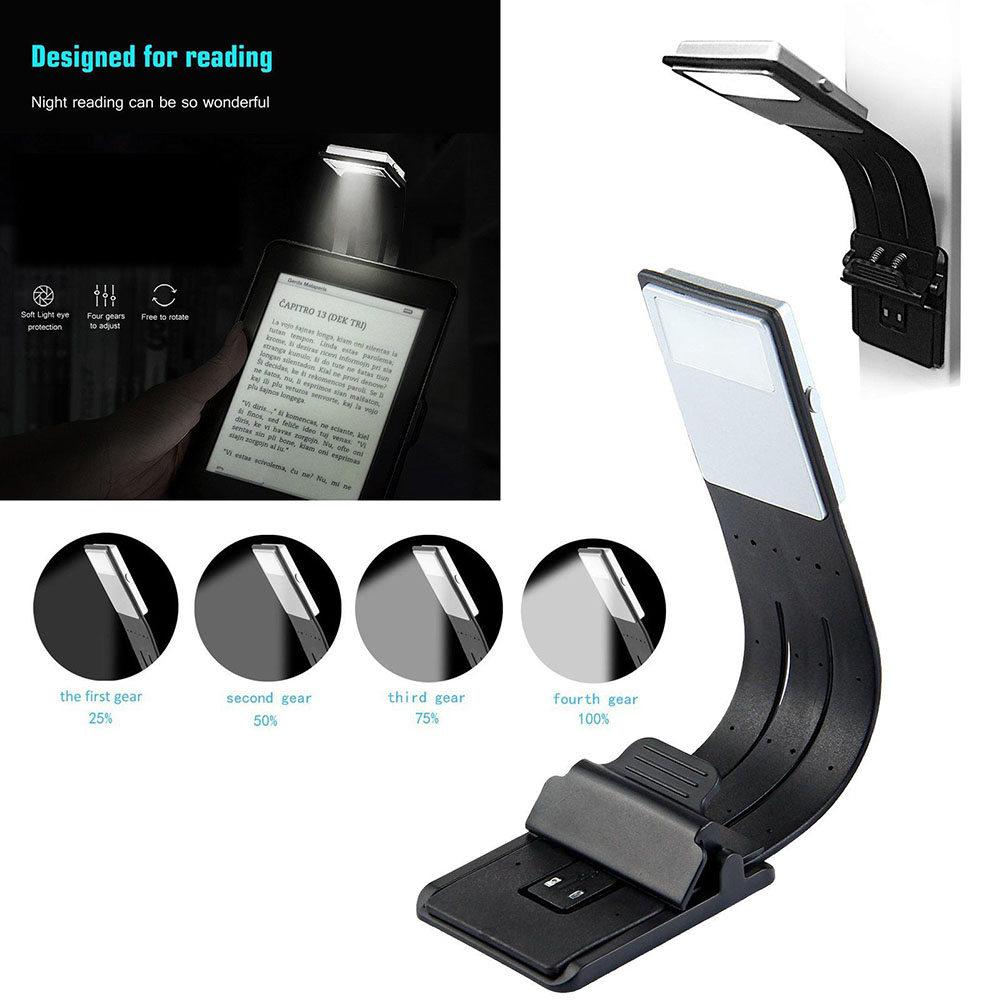 Portable LED Reading Book Light With Detachable Flexible Clip USB Rechargeable Lamp CLH@8