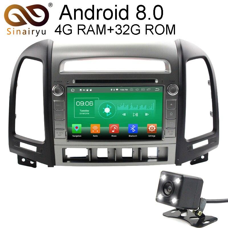 Sinairyu 4 г Оперативная память Android 8.0 автомобильный DVD для Hyundai Santa Fe 2006 2007 2018 2019-2012 Octa core 32 г Встроенная память Радио GPS плеер головное устройство