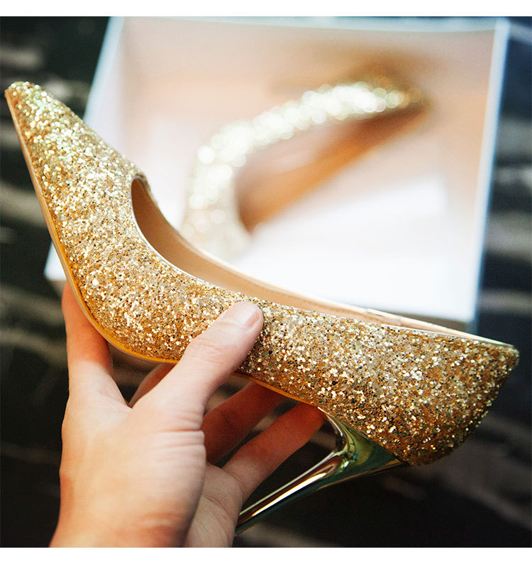 2018 fashion new arrival Women Pumps High Heels Pointed party golden shiny color-in Women's Pumps from Shoes    1