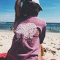 3XL Mulheres Primavera Outono Casual Camisa T Impressão Elefante Top Longo Bolso manga de Algodão Senhora Camisola Solta Tops Plus Size Camiseta