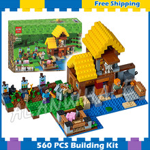 560pcs My World The Farm Cottage 2-level house Animals 10813 Model Building Blocks Toys Bricks Compatible with Lego Minecrafted(China)
