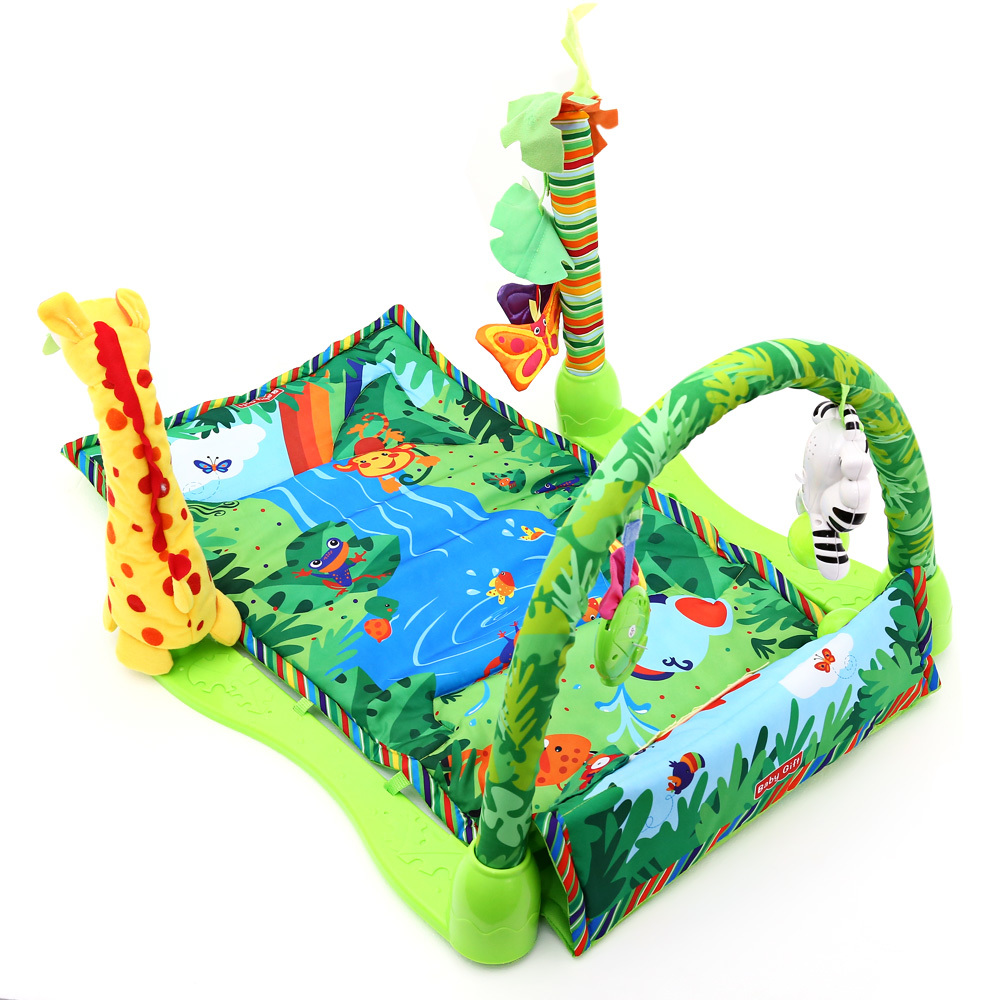 Musique forêt tropicale bébé jouer tapis souple activité jouer Gym jouet adapté pour bébé encourager les enfants à coup de pied tapis d'escalade ABS tissu - 3