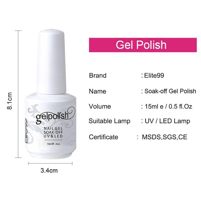 Elite99 15 ml Nagellack Weg Tränken UV Gel Nagellack Halb Permanent Nagel Gel Lack Mit UV-LED-LAMPE Nagel Gel lacke