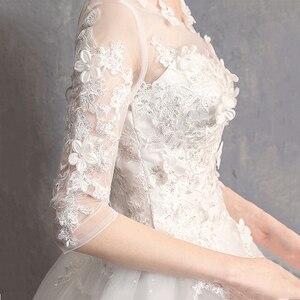 Image 5 - EZKUNTZA 2019 nouveau O cou trois quarts Robe De mariée princesse fleur perles à lacets étage longueur Robe De mariée Robe De mariée L