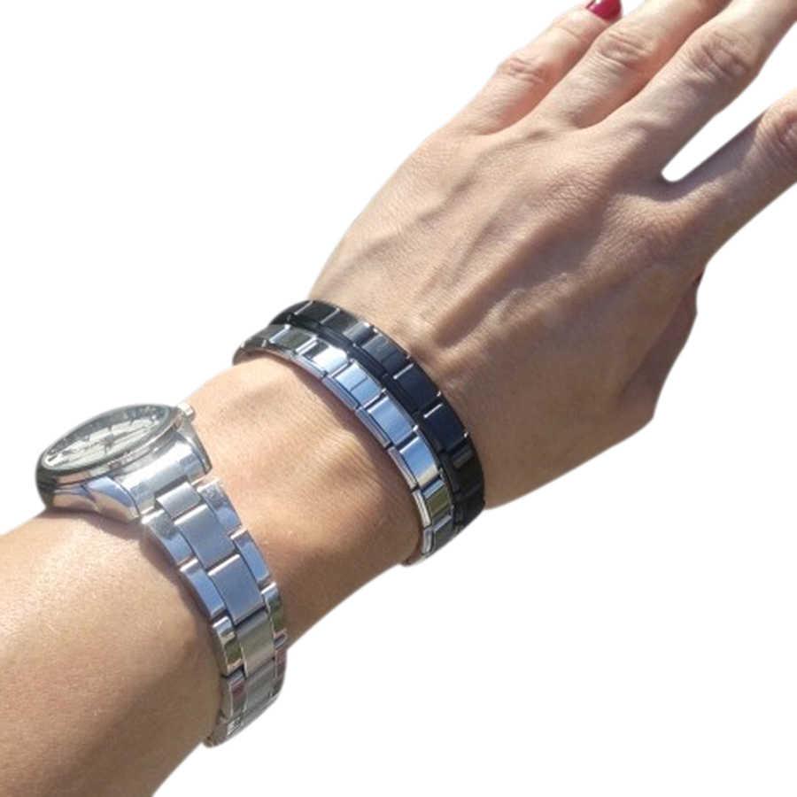 女性男性 2019 新ファッションジュエリー 9 ミリメートル幅弾性チャームブレスレット腕輪ファッションシルバーステンレス鋼バングル
