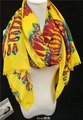 Free Shipping Hot Sale New Women's Polyeste Yellow Ethnic Peacock Feather Flower Ultra Long Cape Scarf Shawls Sun-shading Scarf