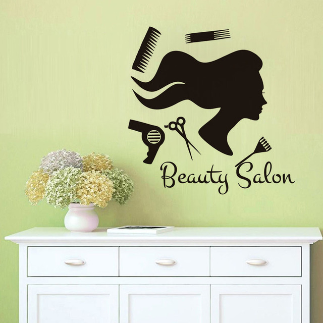 Lady Hair Care Wall Sticker Funny Wall Decal For Barber Shop ...