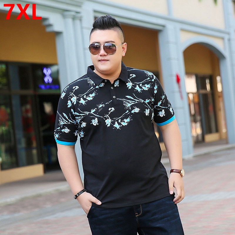 Plus size brand short-sleeved male summer plus fertilizer to increase loose half-sleeved large size lapel   polo