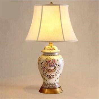 Européen Vintage chinois en céramique fleurs E27 lampe de Table pour salon chambre hôtel projecteur lumière H 68 cm 1689