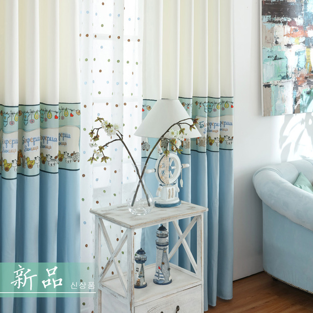 cartoon blauwe gordijnen voor kinderkamer dikke kant blind stoffen baby jongens gordijnen kinderkamer borduren tulle panel
