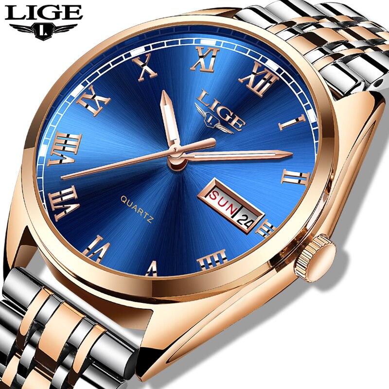 LIGE Men's Watches Top Brand Luxury Men Military Sport Watch Men Stainless Steel Waterproof Wrist Quartz Clock Relogio Masculino