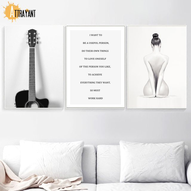 Guitar Nude Girl Quotes Wall Art Canvas Painting Nordic Posters And Prints Black White Wall Pictures For Living Room Home Decor
