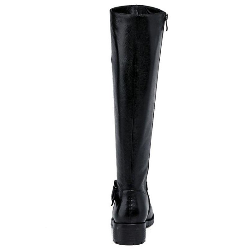 Tamaño Mujeres Las Negro Redonda Rodilla Hebilla Zapatos Dedo Metal Carzicuzin Botas Calzado 34 Cremallera Genuino Pie Del De 43 Cuero tnTxHdpx4