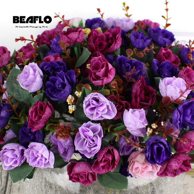 Image 5 - 1Bunch Fresh Artificial Rose Flowers 21 heads Romantic DIY Fake Silk floral for Wedding Party Home Decoration-in Artificial & Dried Flowers from Home & Garden