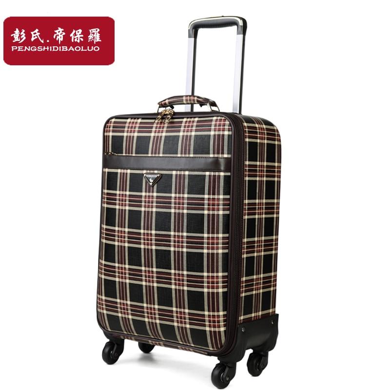 ⃝منقوشة عربة الأمتعة الإناث عجلات عالمية حقيبة سفر الأمتعة