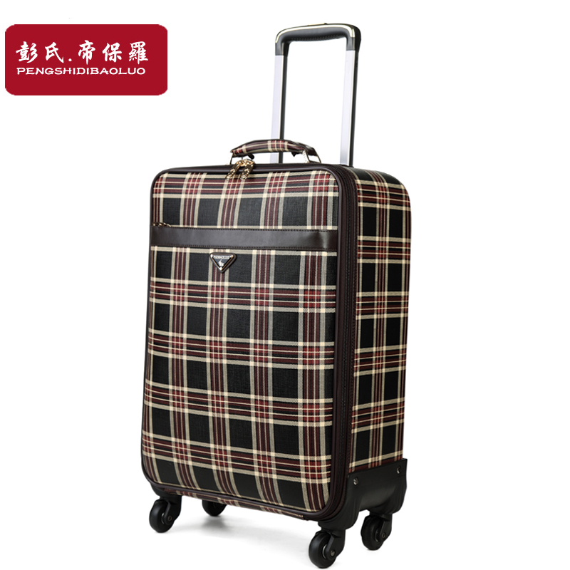 Plaid trolley luggage female universal wheels travel bag soft box commercial luggage lea ...