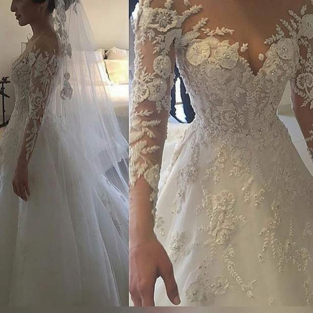 b9f56a19128 Online Shop Luxury Beaded long Sleeve Bridal Gown vestido de noiva praia  Nude Skin color hand made Flowers Lace Wedding Dress