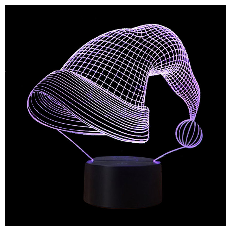 3D Illusion Night Lights 7 Colors Switch Automatically by Smart Touch Button Indoor Lamp, Christmas Hat Black+Transparent