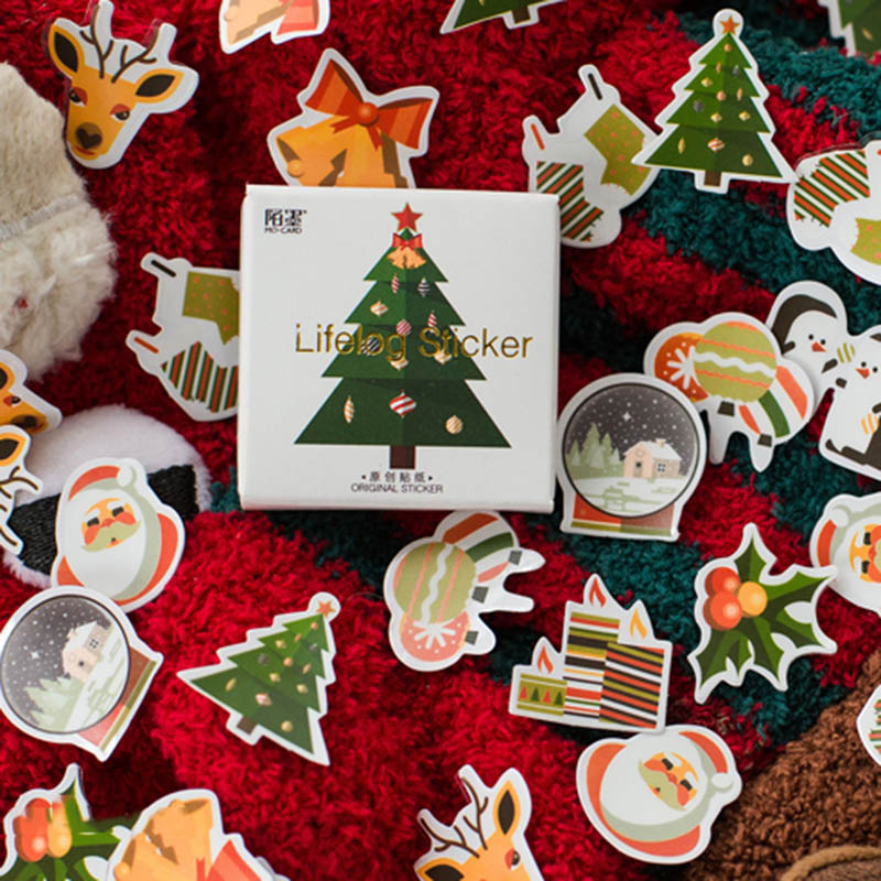 50pcs/box Christmas Trees Stickers Kawaii Deer Stickers Adhesive Cute Stickers Decor Scrapbooking Diary Albums Cute Papeterie image