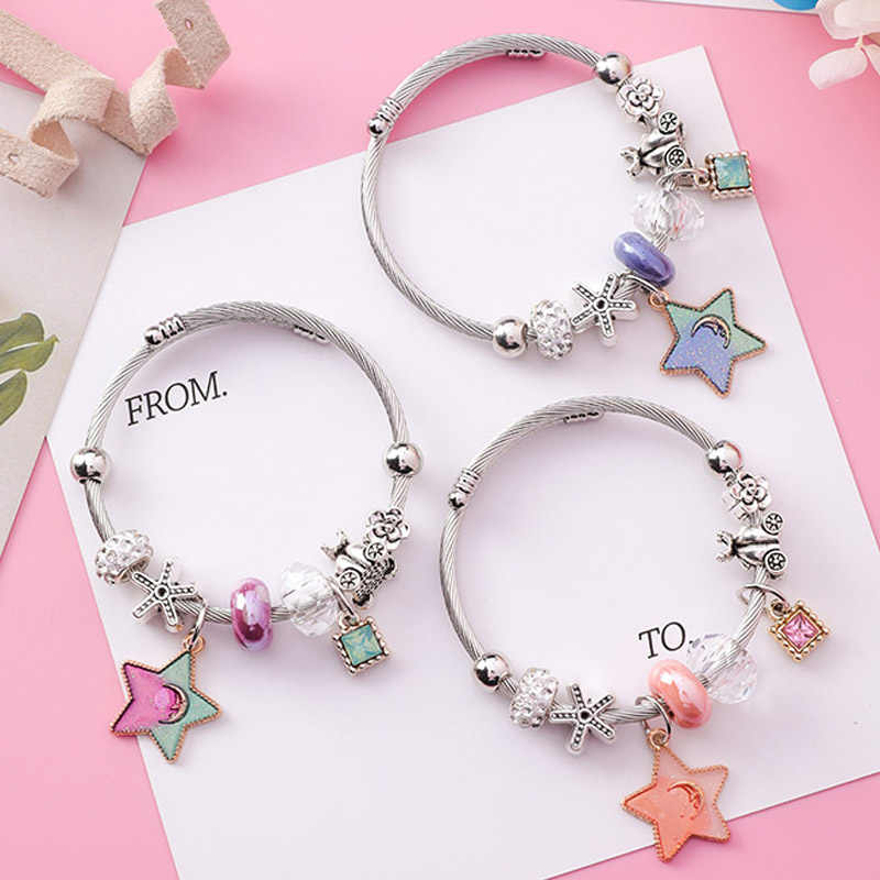 Japan Korea Stainless Steel Adjustable Silver Star Lock Charms Bracelet Bangle for Women Retro Crystal Beaded Charm Jewelry