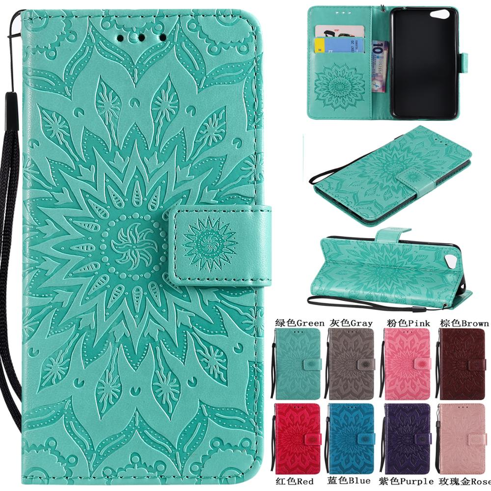 Coque For <font><b>VIVO</b></font> Y95 Y93 Y91 <font><b>Y53</b></font> Flip Book Style Leather <font><b>Case</b></font> Luxury 3D Embossed Sunflower PU Phone Cover Wallet Stand Fundas image