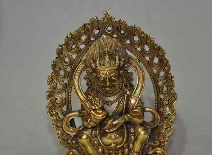 """S6955 6 """"Tibet Buddismo fane Bronzo Dorato Esorcismo Mahakala Adirato Divinità Buddha Statue D0317"""