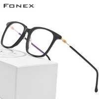Acetate Glasses Frame Men Women Prescription Eyeglasses Spectacles Oversize Square Myopia Optical Frames Screwless Eyewear 5203