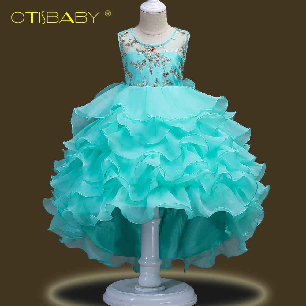 Image 2 - Fancy Children Elegant Dresses for Girls Teenagers Clothing Party Ball Gown Christening Layered Tutu Tulle Dress Peacock Costume-in Dresses from Mother & Kids