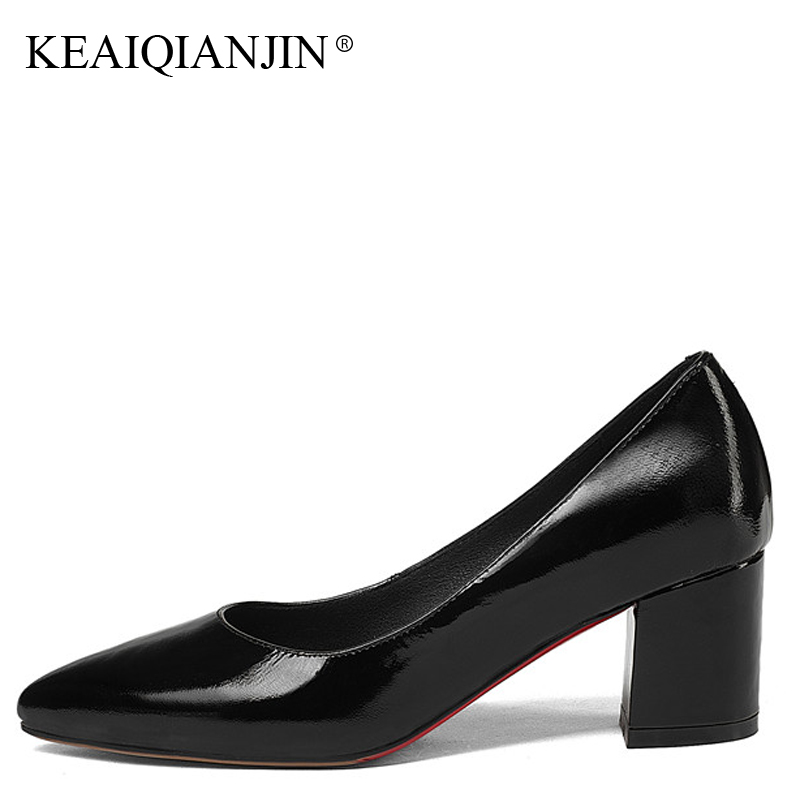 KEAIQIANJIN Woman Wine Red Pumps Sexy Patent Leather High Heels Shoes Plus Size 32 - 43 Black Pointed Toe Genuine Leather Pumps